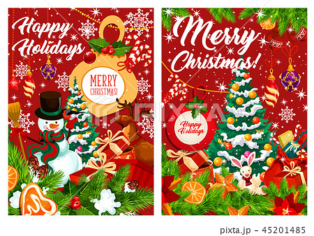 Happy Holidays snowman and gifts, vector 45201485