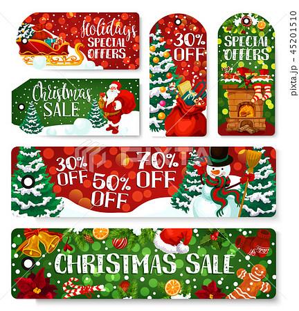 Christmas sale shop dicount vector tags 45201510