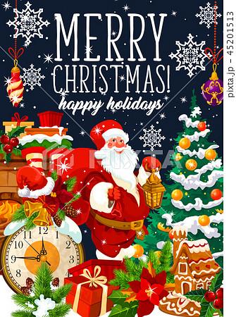 Christmas holiday Santa and gifts bag, vector 45201513