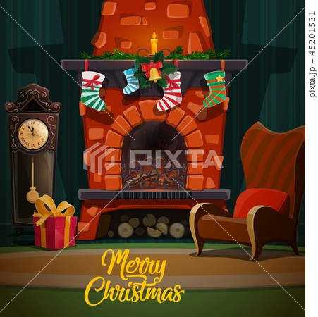 Christmas fireplace with xmas gifts and stockings 45201531