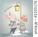 ブタ 冬 愛らしいのイラスト 45203176
