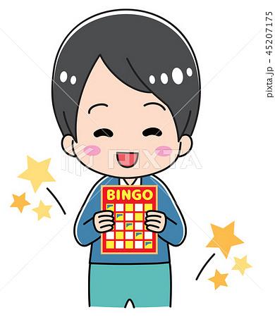 ビンゴカードを持つ男の子 45207175