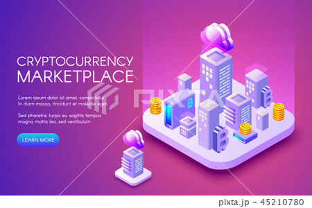 Cryptocurrency bitcoin marketplace illustration 45210780