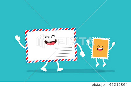 Blank envelope with postage stamp 45212364