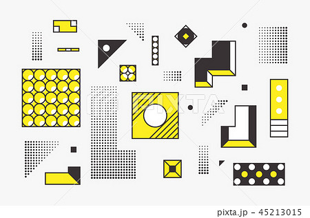 Universal trend linear geometric shapes set with halftone elements 45213015