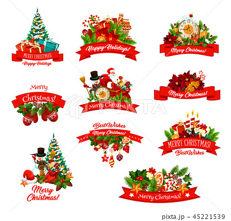 Christmas gifts and characters vector icons 45221539