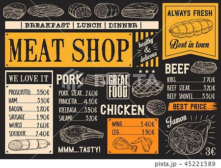 Butchery products menu, meat sketch chalkboard 45221589