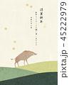 年賀状 亥年 猪のイラスト 45222979
