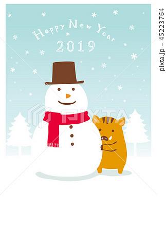 年賀状25 雪だるま 45223764