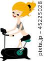 フィットネスバイク 女性 フィットネスのイラスト 45225028