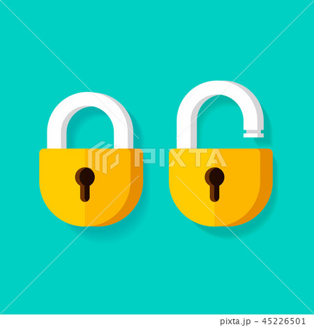 Lock open and lock closed vector icons, flat cartoon padlocks design isolated clipart 45226501