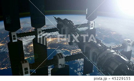 International Space Station Orbiting Earth 45229155