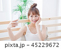 女性 スマートフォン 携帯電話の写真 45229672