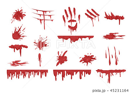 Blood spatters set, dripping blood and stains vector Illustrations on a white background 45231164
