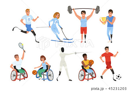 Set of Paralympics athletes with physical disabilities. Smiling men and women taking part in various 45231203