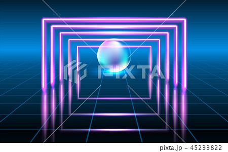 Fantastic background with neon lines and sphere 45233822