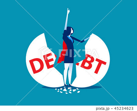 Debt Management. Super businesswoman punch 45234623