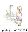 日本のお墓と手を合わせる女性 45236854