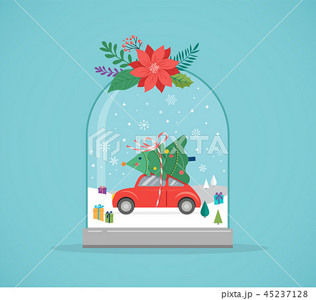 Merry Christmas, Winter wonderland scenes in a snow globe, concept vector illustration 45237128