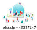 Merry Christmas, Winter wonderland scene in a snow globe with small people, young men and women 45237147