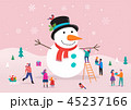 Merry Christmas card, background, bannner with huge snowman and small people, young men and women 45237166