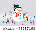 Merry Christmas card, background, bannner with huge snowman and small people, young men and women 45237168