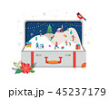 Merry Christmas, Big open suitcase with winter scene and small people, young men and women, families 45237179