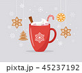 Merry Christmas, winter scene with a big cocoa mug and homemade gingerbread, vector concept 45237192