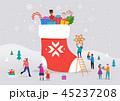 Merry Christmas, winter scene with a big red sock with gift boxes and small people, young men and 45237208