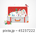 Merry Christmas, Big open suitcase with winter scene and small people, young men and women, families 45237222