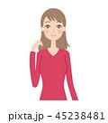 女性 表情 ポーズのイラスト 45238481