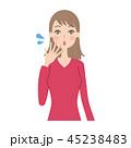 女性 表情 ベクターのイラスト 45238483