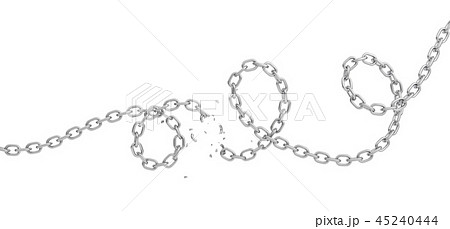 3d rendering of a curled iron chain broken in half and lying on a white background. 45240444