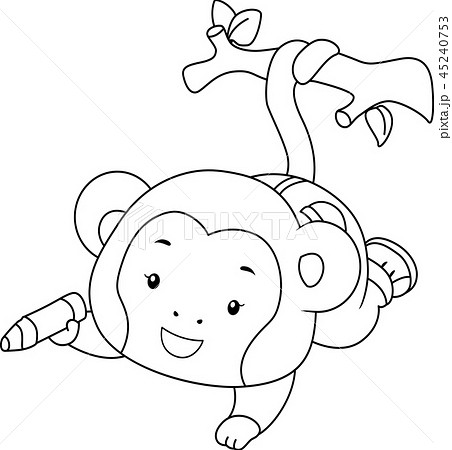 Coloring Page Monkey Color Branch Illustration 45240753