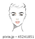 Beautiful woman face with nude make-up hand drawn 45241851