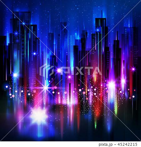 Illuminated night city skyline 45242215