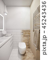 3d illustration of an interior design of a white minimalist bathroom 45243436