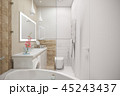 3d illustration of an interior design of a white minimalist bathroom 45243437