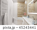 3d illustration of an interior design of a white minimalist bathroom 45243441