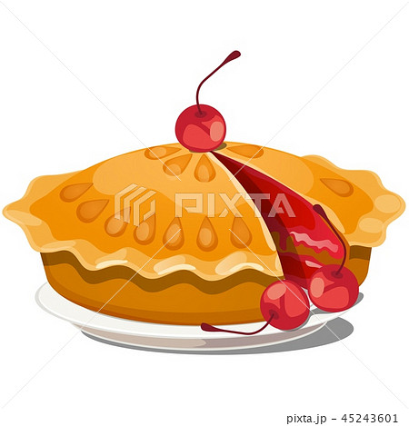 Fresh cherry pie on a plate isolated on white background. Vector cartoon close-up illustration. 45243601