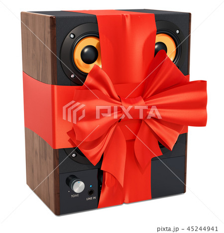 Musical speakers with ribbon and bow 45244941