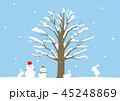 冬 雪だるま 白うさぎ 景色 45248869