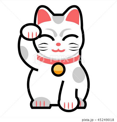 招き猫(白色)手上げ 45249018
