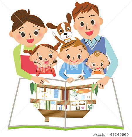 住宅パンフレットを見る家族 45249669