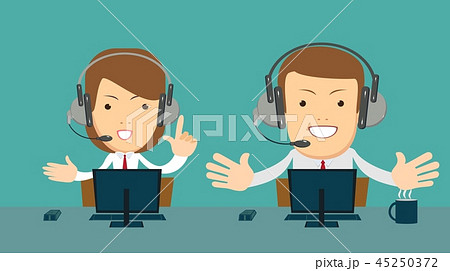 Smiling male and female operator with headset working at call center. 45250372