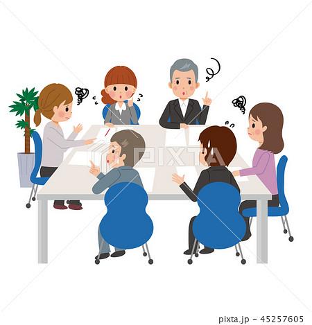 会議をする 男女 ビジネスマン ビジネスウーマン イラストのイラスト素材