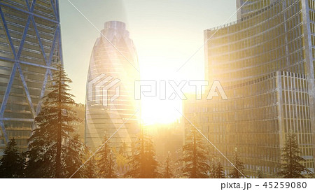 City skyline with urban skyscrapers at sunset 45259080