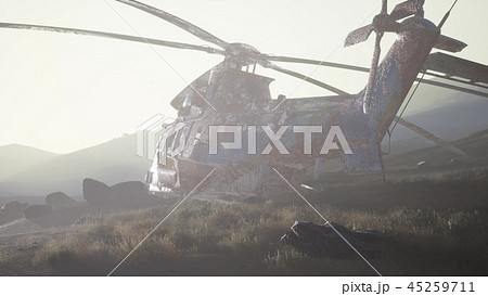 old rusted military helicopter in the desert 45259711