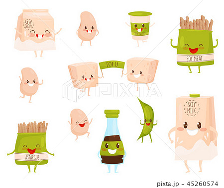 Flat vector set of soy products characters with cute faces. Milk and cream, cup of yogurt, soybeans 45260574