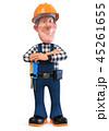 3d illustration Builder worker in overalls 45261655